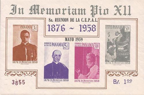Panama - 1959 Pope Pius XII - 4 Stamp Souvenir Sheet - Scott #C212a