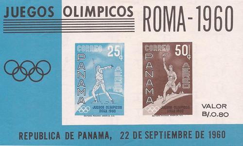 Panama - 1960 Olympic Games - 2 Stamp Souvenir Sheet - Scott #C237a