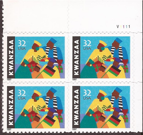 US Stamp - 1997 32c Kwanzaa - 4 Stamp Plate Block - Scott #3175