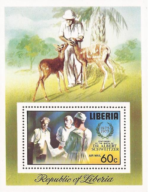 Liberia - 1975 Albert Schweitzer - Stamp Souvenir Sheet - Scott #C208