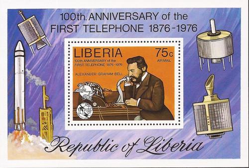 Liberia - 1976 Alexander Graham Bell - Souvenir Sheet - Scott #C212