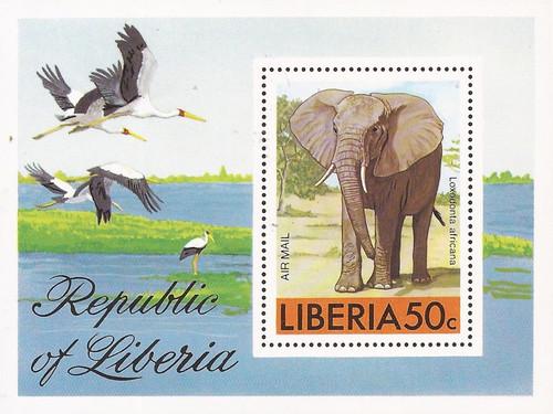Liberia - 1976 African Bush Elephant - Stamp Souvenir Sheet #C213