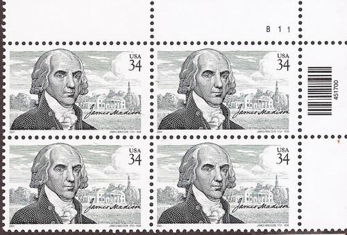 US Stamp - 2001 34c James Madison & Montpelier - 4 Stamp Plate Block #3545