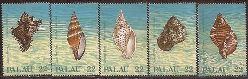 Palau - 1987 Seashells - 5 Stamp Set - Scott #150-4