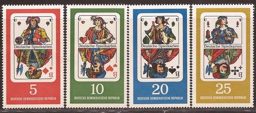 Germany GDR - 1967 German Playing Cards - 4 Stamp Set - Scott #941-4