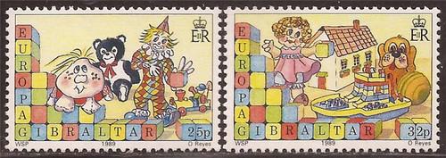 Gibraltar - 1989 Europa Children's Toys - 2 Stamp Set - Scott #543-4