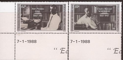 French Polynesia - 1988 Authors - 2 Stamp Set - Scott #476-7
