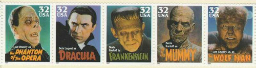 US Stamp 1997 Movie Monsters 5 Stamp Strip MNH #3172a