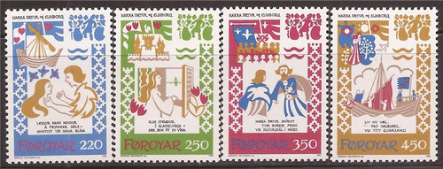 Faroe Islands - 1982 Medieval Ballad of Chivalry - 4 Stamp Set #86-9