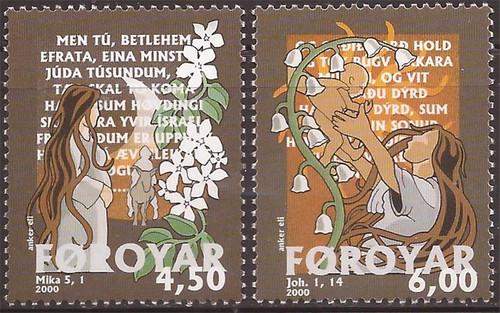 Faroe Islands - 2000 Bible Stories - 2 Stamp Set - Scott #387-8