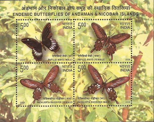 India - 2008 Butterflies - Stamp Souvenir Sheet - Scott #2230