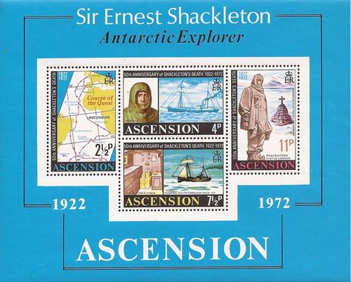 Ascension - 1972 Sir Ernest Shackleton - 3 Stamp Souvenir Sheet #163a