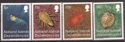 Falkland Islands Dependencies 1984 Antarctic Crustacea 4 Stamp Set #1L76-9