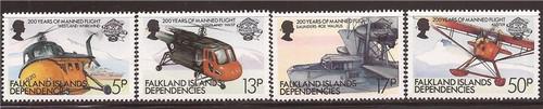 Falkland Islands Dependencies 1983 Manned Flight 4 Stamp Set #1L80-3