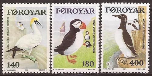 Faroe Islands - 1978 Sea Birds - 3 Stamp Set - Scott #36-8