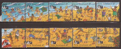New Zealand - 1994 Recreation - 10 Stamp Set Used - Scott #1248a-j