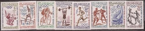 Morocco - 1960 Rome Olympics - 8 Stamp Set MNH - Scott #45-52
