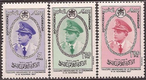 Morocco - Northern Zone 1957 - King Mohammed V - 3 Stamp Set MNH #23-5