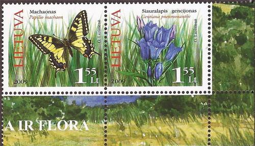 Lithuania - 2009 Butterflies & Flowers - Stamp Pair - Scott #901