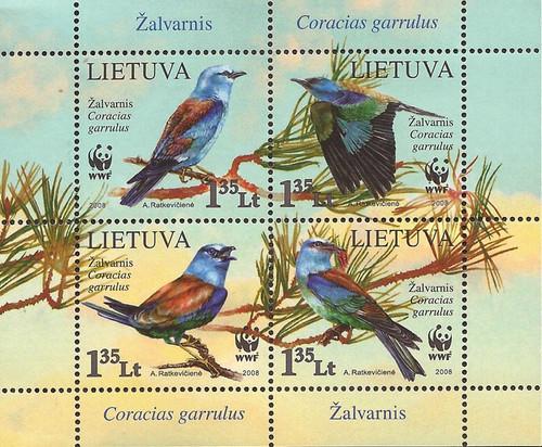 Lithuania - 2008 European Roller Bird WWF - 4 Stamp Sheet - Scott #878