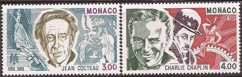 Monaco - 1989 Jean Cocteau & Charlie Chaplin - 2 Stamp Set #1678-9