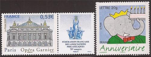 France - 2006 2 Different Stamps - Garnier Opera House, Birthday #3221-2