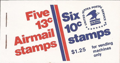 US Stamp 1974 Booklet of 5 Airmail Stamps & 6 10c Stamps #BK126