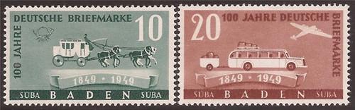 German Occupation-Baden - 1949 Stagecoach - 2 Stamp Set MH #5N43-4