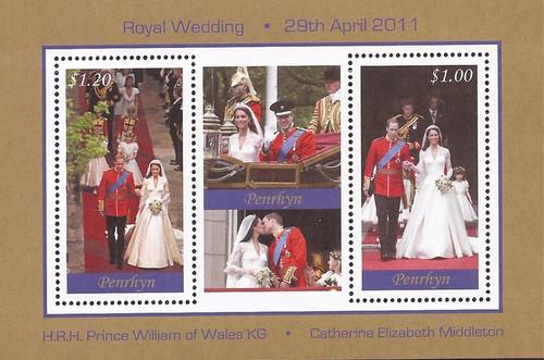 Penrhyn Island - 2011 Royal Wedding William & Kate - 3 Stamp Sheet #502