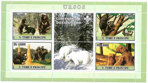 Sao Tome - Bears on Stamps - Mint Sheet of 4 - ST7201a