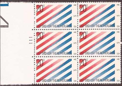 US Stamp - 1982 20c US-Netherlands - 6 Stamp Plate Block - Scott #2003