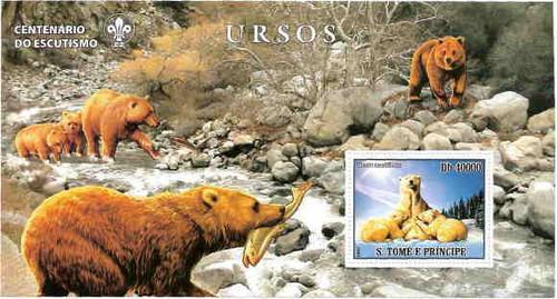 Sao Tome - Bears on Stamps - Souvenir Sheet ST7201b