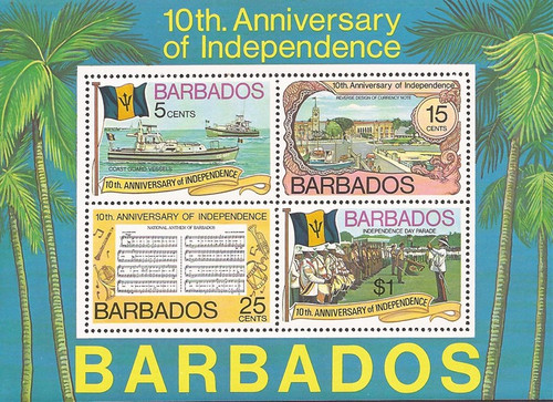 Barbados - 1976 Independence Anniversary 4 Stamp Souvenir Sheet #451a