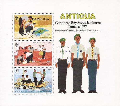 Barbuda - 1977 Boy Scout Jamboree - 3 Stamp Souvenir Sheet #296a
