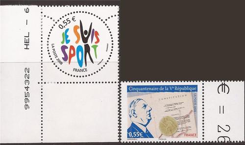 France - 2008 Sport & Fifth Republic - 2 Stamps - Scott #3517-8