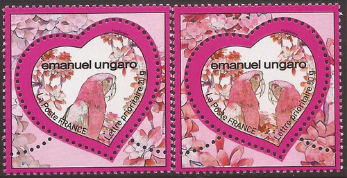 France - 2009 Hearts Flowers and Parrots - 2 Stamp Set - Scott #3585-6