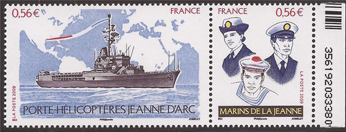 France - 2009 Helicopter Carrier Jeanne d'Arc - Stamp Pair #3747a