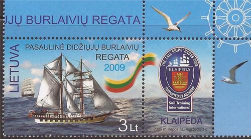 Lithuania - 2009 Tall Ships Regatta - Stamp + Label - Scott #898