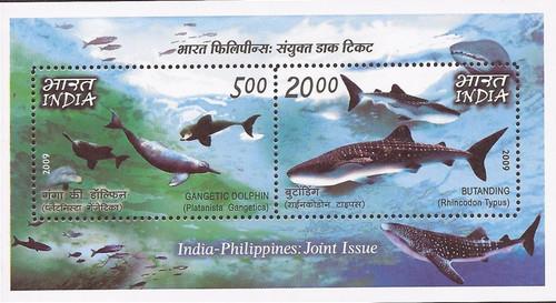 India - 2009 Marine Life Dolphin Shark Whale - 2 Stamp Set #2374c