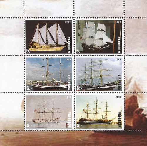 Mordovia - 2003 Tall Ships - 6 Stamp Sheet - 13G-009
