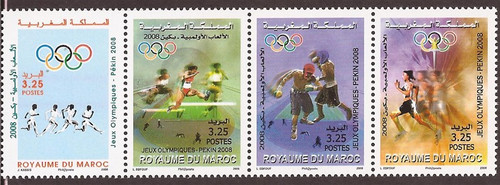 Morocco - 2008 Beijing Summer Olympics - 4 Stamp Strip - Scott #1067