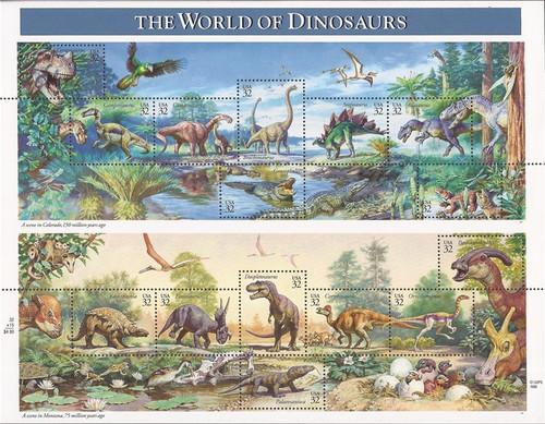 US Stamp - 1997 25c World of Dinosaurs - 15 Stamp Sheet - Scott #3136