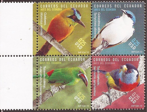 Ecuador - 2010 Birds of Ecuador - 4 Stamp Block - Scott #2003