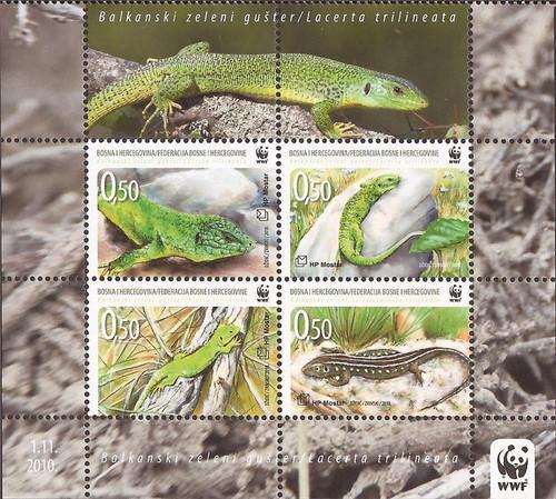 Bosnia & Herzegovina - Croat Admin 2010 Balkan Lizard 4 Stamp Sheet #240