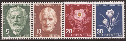 Switzerland - 1945 Forrer Orelli & Flowers - 4 Stamp Set MH #B150-3