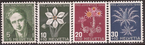 Switzerland - 1946 Toepffer & Flowers - 4 Stamp Set - Scott #B158-61
