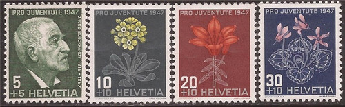 Switzerland - 1947 Burckhardt & Flowers - 4 Stamp Set - Scott #B166-9