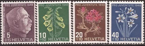 Switzerland - 1948 Wille & Flowers - 4 Stamp Set - Scott #B179-82