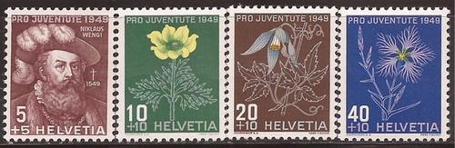 Switzerland - 1949 Wengi & Flowers - 4 Stamp Set MNH - Scott #B187-90