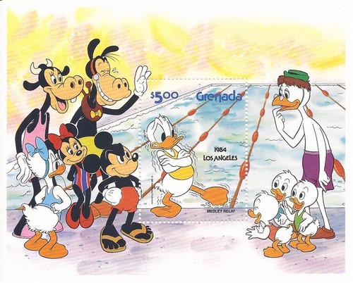 Grenada 1983 Disney Characters Olympics Mickey Donald Souvenir Sheet Scott #1194